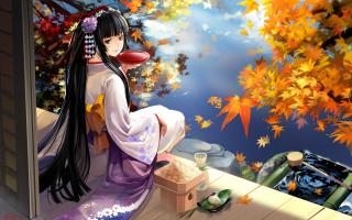 Autumn Kimono Anime Girl