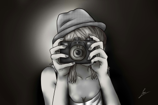 Black And White Drawing Of Girl With Camera para LG E400 Optimus L3