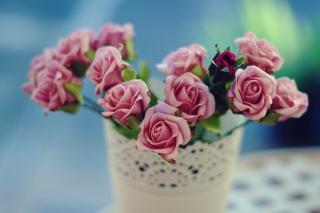 Beautiful Pink Roses In White Vintage Vase