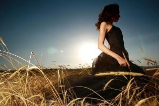 Girl In Black Dress In Fields