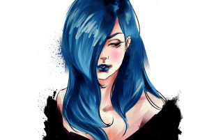Girl With Blue Hair Painting