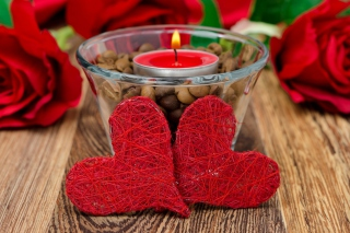 Red Hearts And Candle