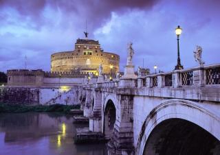 Castle Sant Angelo Bridge Rome Italy