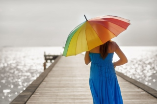 Blue Dress And Rainbow Umbrella