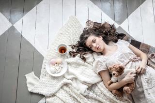 Romantic Girl With Teddy Bear