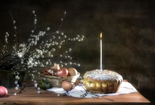 Easter Cake With Candle
