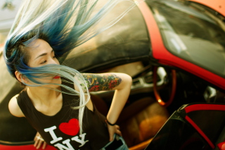Cool Asian Girl With Blue Hair & I Love NY T-shirt