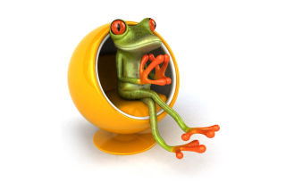 3D Frog On Yellow Chair para LG E400 Optimus L3