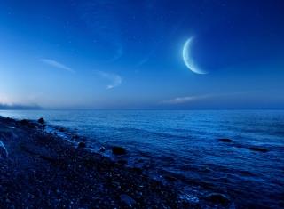 Moon On Gravel Beach