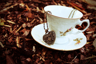 Heart Pendant And Vintage Cup