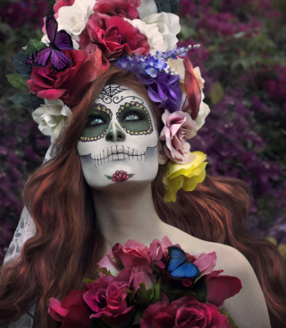 Mexican Day Of The Dead Face Art for 480x854