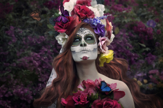 Mexican Day Of The Dead Face Art