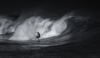 Black And White Surfing
