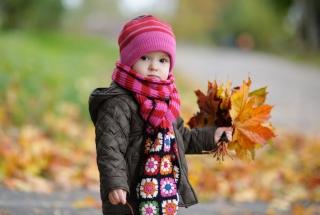 Cute Baby In Autumn