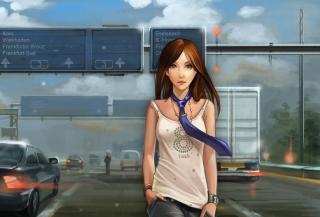 Girl In Tie Walking On Road
