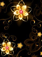 Golden Flowers for Nokia Asha 303