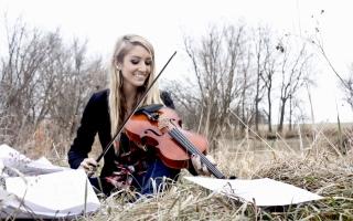 Blonde Girl Playing Violin