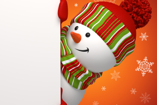 Snowman Waiting For New Year
