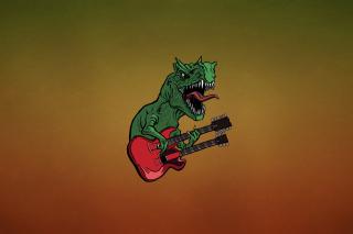 Dinosaur And Guitar Illustration