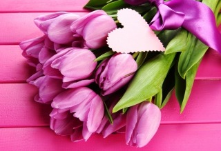Pink Tulips Bouquet And Paper Heart