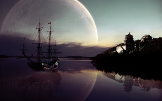 Fantasy Ship Moon Reflection