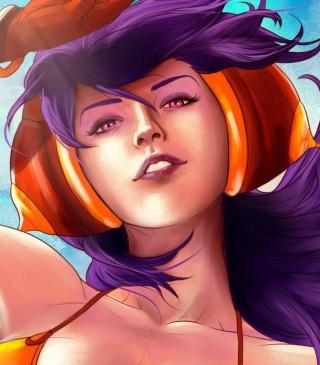 Purple Hair Girl Art for 480x854