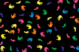 Colorful Hands And Feet Pattern