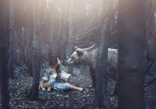 Girl And Two Bears In Forest By Rosie Hardy Photographer