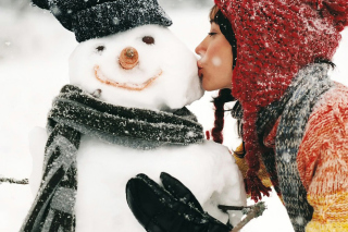 Girl Kissing The Snowman