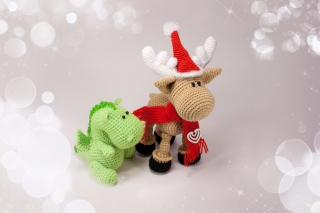 Christmas Dino And Reindeer