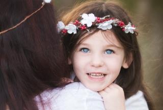 Smiley Girl In Flower Wreath