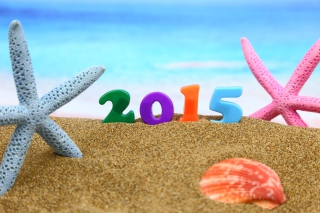 Happy New Year 2015 on Beach para Motorola RAZR XT910