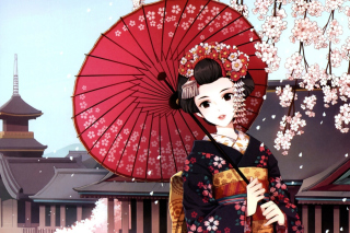 Japanese Girl With Umbrella